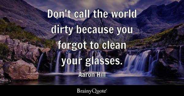 Don't call the world dirty because you forgot to clean your glasses. - Aaron Hill