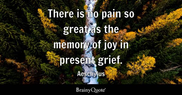 There is no pain so great as the memory of joy in present grief. - Aeschylus