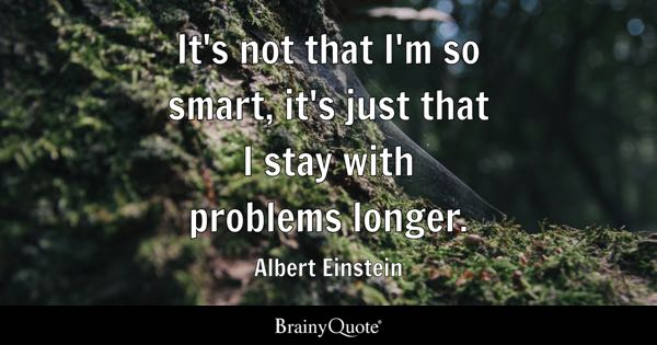 It's not that I'm so smart, it's just that I stay with problems longer. - Albert Einstein