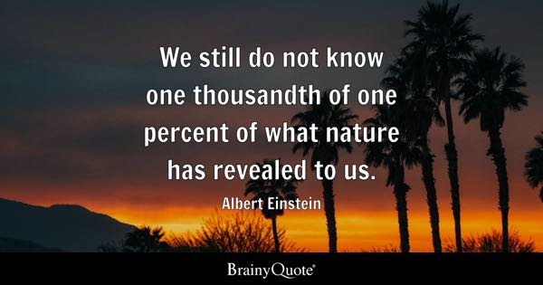 We still do not know one thousandth of one percent of what nature has revealed to us. - Albert Einstein