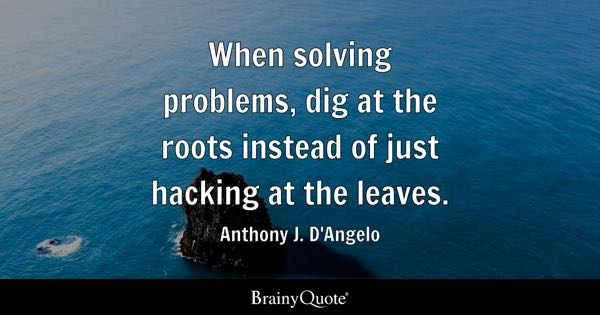 When solving problems, dig at the roots instead of just hacking at the leaves. - Anthony J. D'Angelo