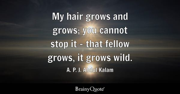 My hair grows and grows; you cannot stop it - that fellow grows, it grows wild. - A. P. J. Abdul Kalam