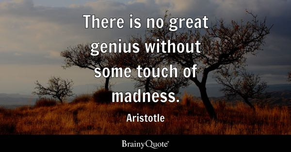 There is no great genius without some touch of madness. - Aristotle