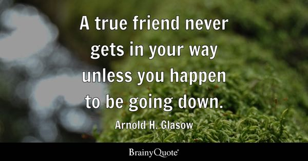 A true friend never gets in your way unless you happen to be going down. - Arnold H. Glasow