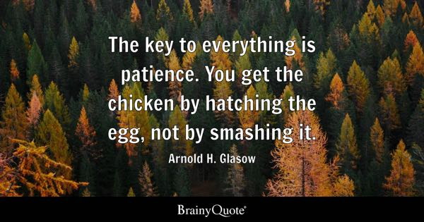 The key to everything is patience. You get the chicken by hatching the egg, not by smashing it. - Arnold H. Glasow