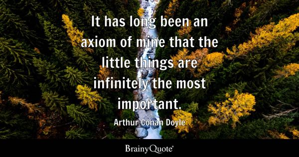 It has long been an axiom of mine that the little things are infinitely the most important. - Arthur Conan Doyle