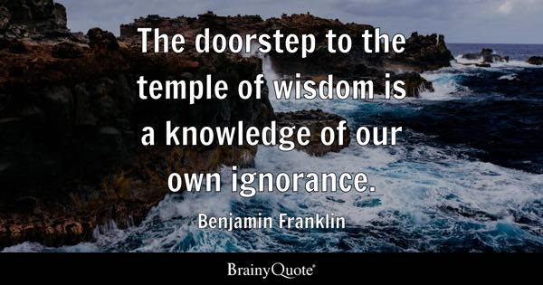 The doorstep to the temple of wisdom is a knowledge of our own ignorance. - Benjamin Franklin