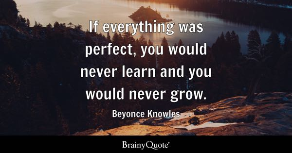 If everything was perfect, you would never learn and you would never grow. - Beyonce Knowles