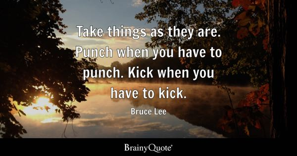 Take things as they are. Punch when you have to punch. Kick when you have to kick. - Bruce Lee