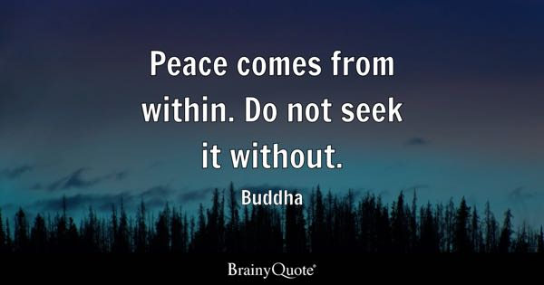 Peace comes from within. Do not seek it without. - Buddha