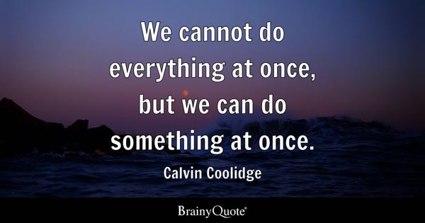 We cannot do everything at once, but we can do something at once. - Calvin Coolidge