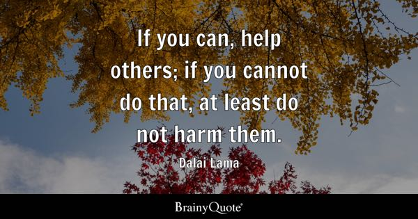 If you can, help others; if you cannot do that, at least do not harm them. - Dalai Lama
