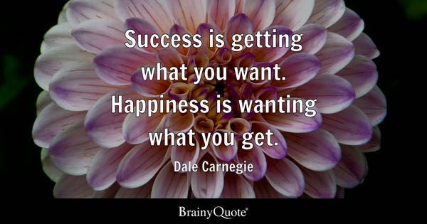 Success is getting what you want. Happiness is wanting what you get. - Dale Carnegie