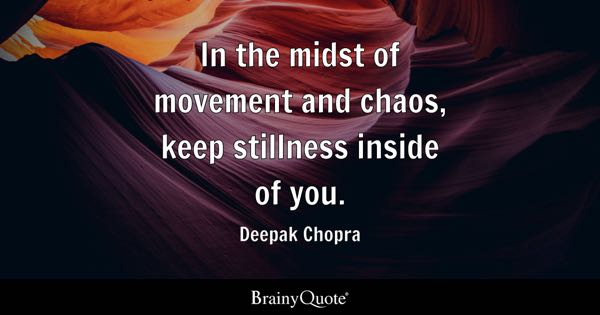 In the midst of movement and chaos, keep stillness inside of you. - Deepak Chopra