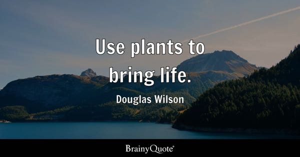 Use plants to bring life. - Douglas Wilson