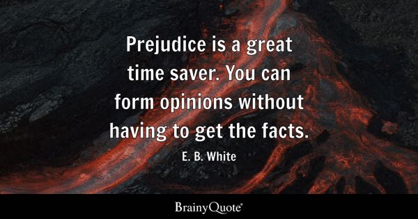 Prejudice is a great time saver. You can form opinions without having to get the facts. - E. B. White