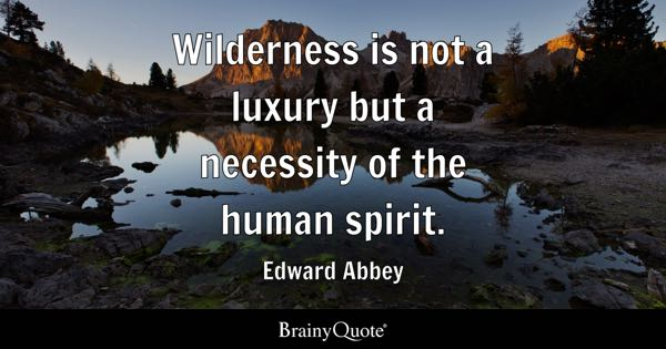 Wilderness is not a luxury but a necessity of the human spirit. - Edward Abbey