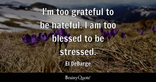 I'm too grateful to be hateful. I am too blessed to be stressed. - El DeBarge