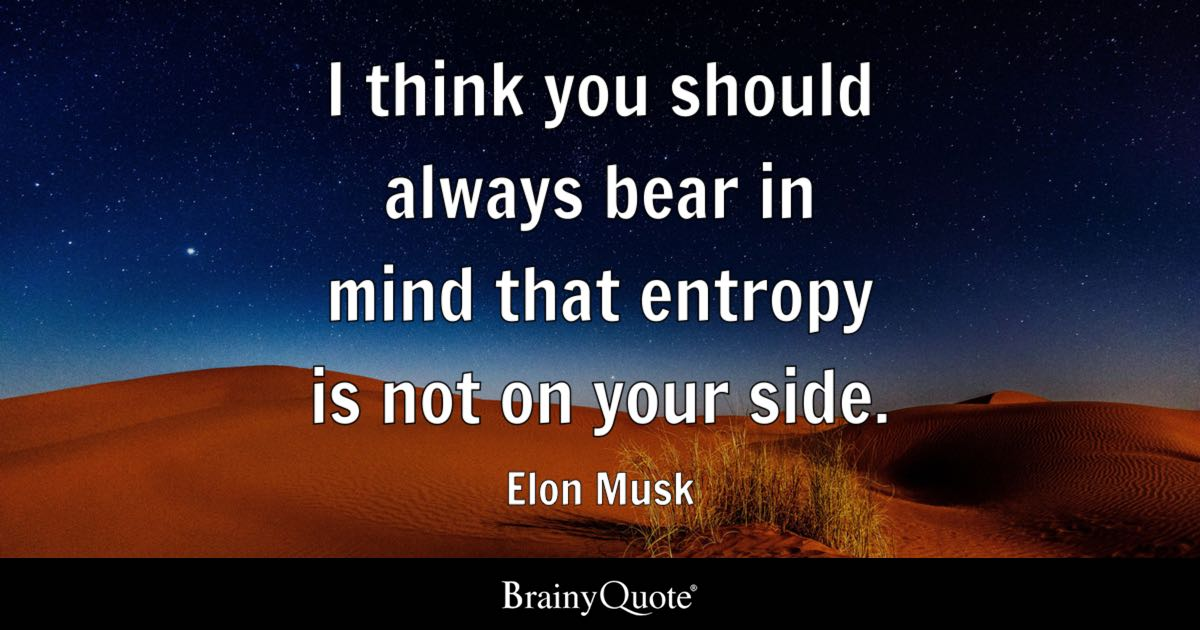 I think you should always bear in mind that entropy is not on your side. - Elon Musk