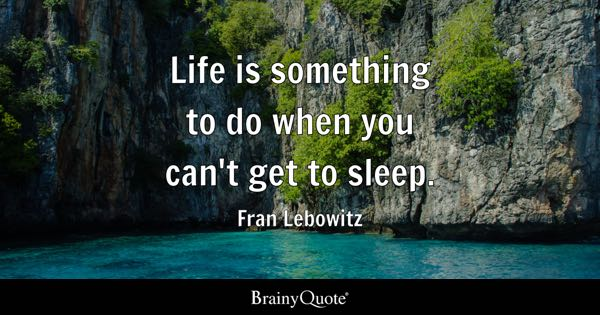 Life is something to do when you can't get to sleep. - Fran Lebowitz