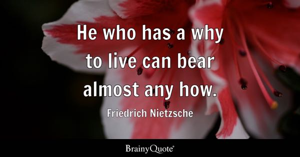 He who has a why to live can bear almost any how. - Friedrich Nietzsche