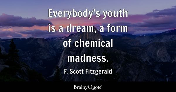 Everybody's youth is a dream, a form of chemical madness. - F. Scott Fitzgerald