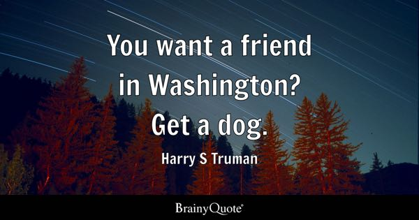 You want a friend in Washington? Get a dog. - Harry S Truman