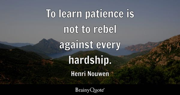 To learn patience is not to rebel against every hardship. - Henri Nouwen