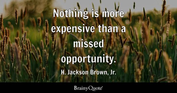 Nothing is more expensive than a missed opportunity. - H. Jackson Brown, Jr.