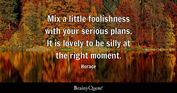 Mix a little foolishness with your serious plans. It is lovely to be silly at the right moment. - Horace