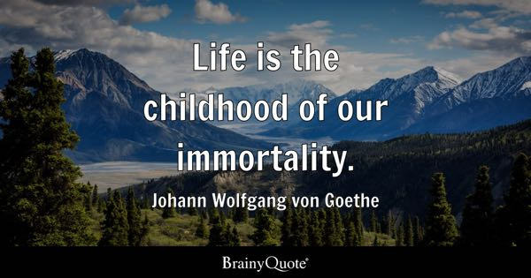 Life is the childhood of our immortality. - Johann Wolfgang von Goethe