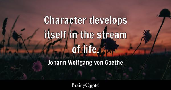 Character develops itself in the stream of life. - Johann Wolfgang von Goethe