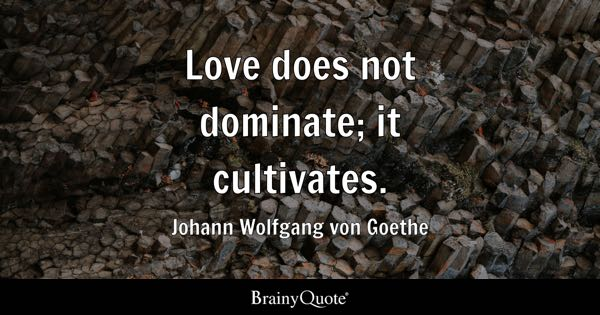 Love does not dominate; it cultivates. - Johann Wolfgang von Goethe