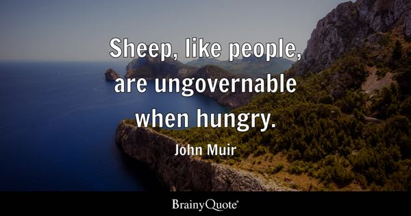 Sheep, like people, are ungovernable when hungry. - John Muir