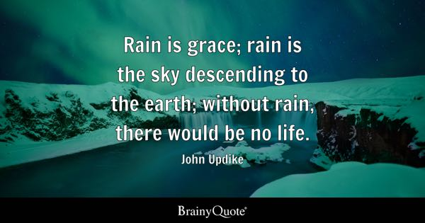 Rain is grace; rain is the sky descending to the earth; without rain, there would be no life. - John Updike