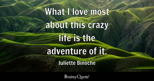 What I love most about this crazy life is the adventure of it. - Juliette Binoche