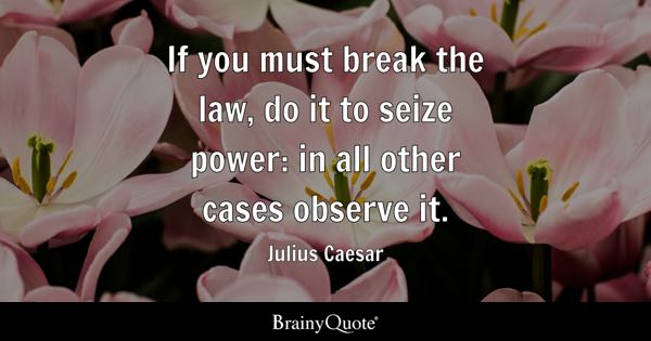 If you must break the law, do it to seize power: in all other cases observe it. - Julius Caesar