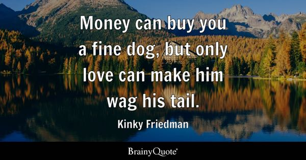Money can buy you a fine dog, but only love can make him wag his tail. - Kinky Friedman
