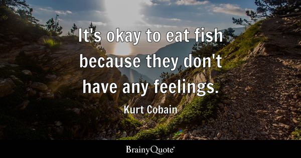 It's okay to eat fish because they don't have any feelings. - Kurt Cobain