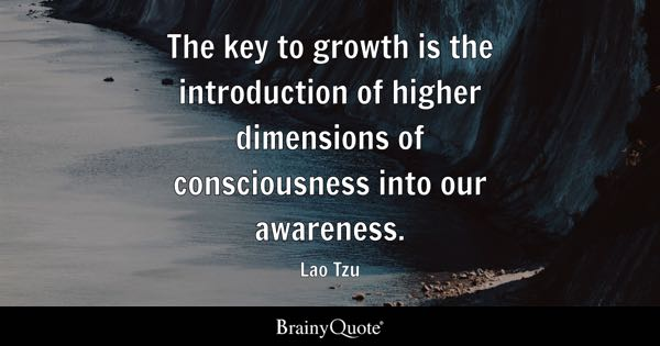 The key to growth is the introduction of higher dimensions of consciousness into our awareness. - Lao Tzu
