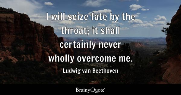 I will seize fate by the throat; it shall certainly never wholly overcome me. - Ludwig van Beethoven