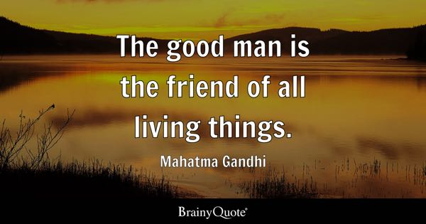 The good man is the friend of all living things. - Mahatma Gandhi