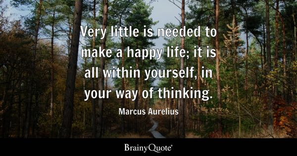 Very little is needed to make a happy life; it is all within yourself, in your way of thinking. - Marcus Aurelius