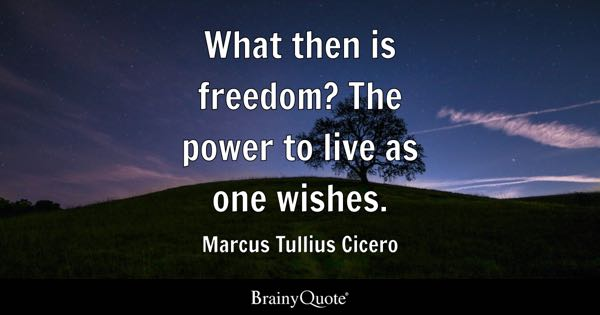 What then is freedom? The power to live as one wishes. - Marcus Tullius Cicero