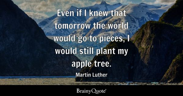Even if I knew that tomorrow the world would go to pieces, I would still plant my apple tree. - Martin Luther