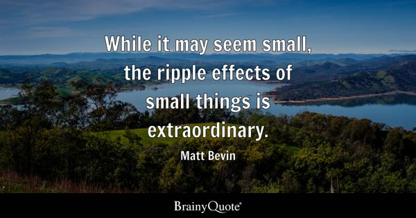 While it may seem small, the ripple effects of small things is extraordinary. - Matt Bevin