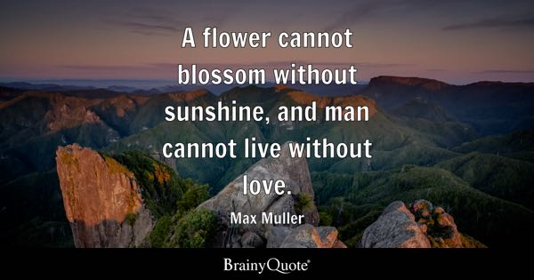 A flower cannot blossom without sunshine, and man cannot live without love. - Max Muller