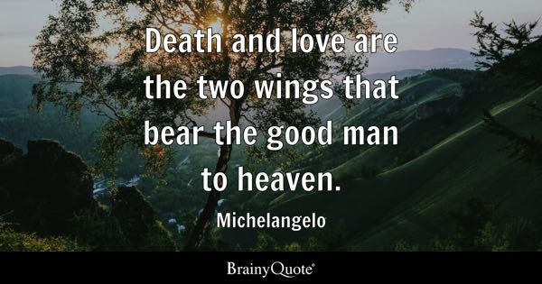 Death and love are the two wings that bear the good man to heaven. - Michelangelo