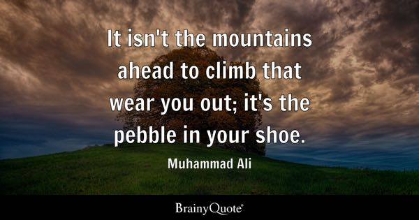 It isn't the mountains ahead to climb that wear you out; it's the pebble in your shoe. - Muhammad Ali