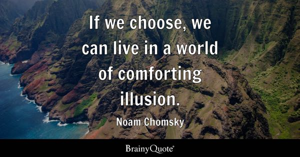 If we choose, we can live in a world of comforting illusion. - Noam Chomsky